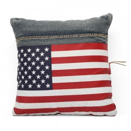 Cowboy Cushion Blue Denim W/ Usa Flag