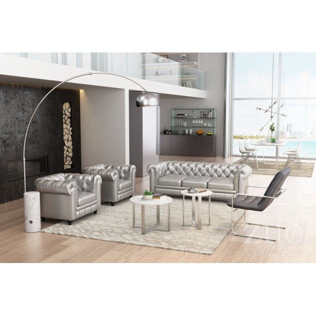 Atlas End Table Stone & Brushed Ss