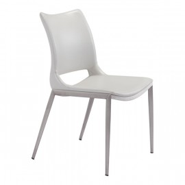 Ace Dining Chair White &  Brushed Stainless Steel