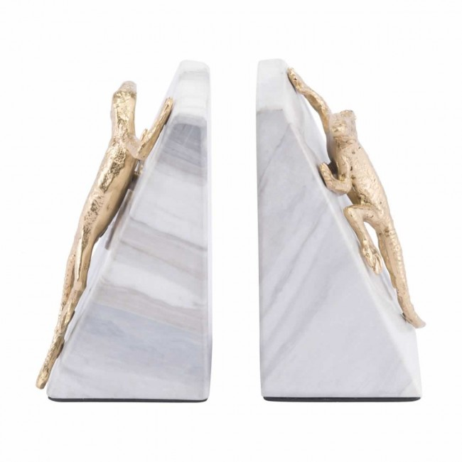 Iguana Bookends White & Gold