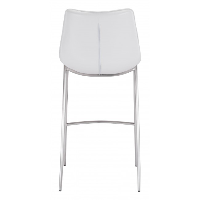 Magnus Bar Chair White & Silver