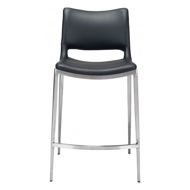 Ace Counter Chair Black & Brushed Ss