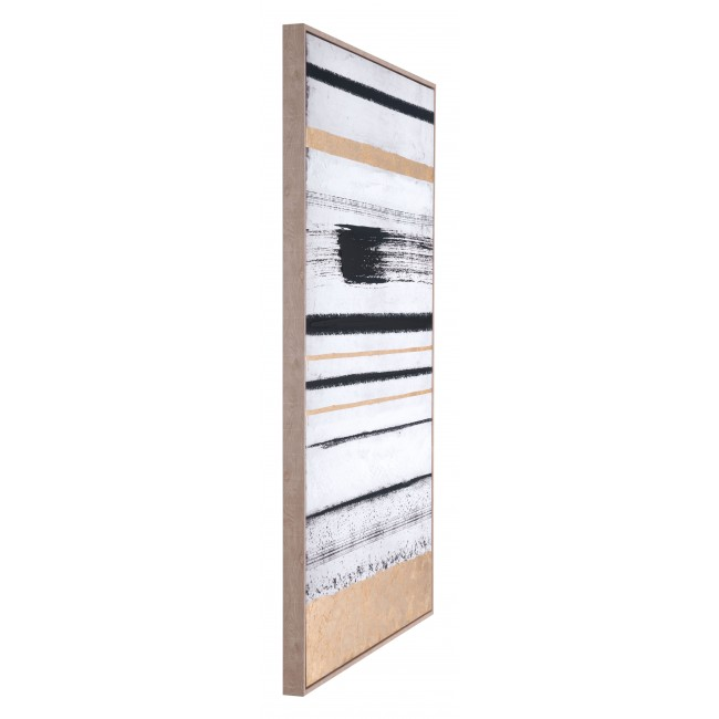 Vertical Brush Strokes Canvas Blk & Gold